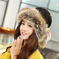 mũ len lông nữ Scarves Warm đen
