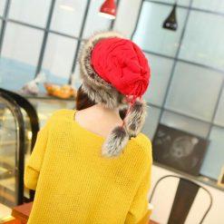 mũ len lông nữ Scarves Warm đỏ