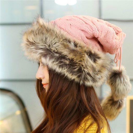 mũ len lông nữ Scarves Warm hồng