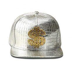 mũ kết Snapback Dollar Cap màu bạc trắng