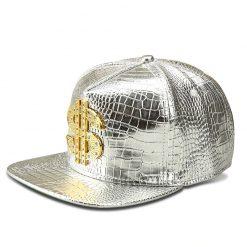 mũ kết Snapback phù hợp Dollar Cap màu bạc trắng