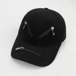 mũ lưỡi trai zipper đen