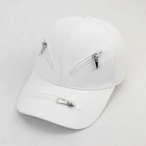 mũ lưỡi trai zipper trắng