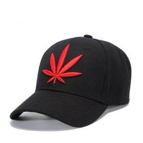 kiểu mũ đẹp lưỡi trai đen thêu lá đỏ Hemp Leaf