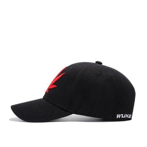 mũ lưỡi trai đen thêu lá đỏ Hemp Leaf