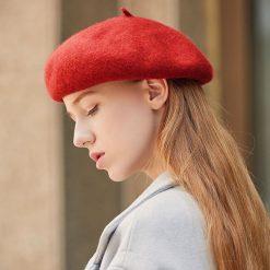 mũ nồi beret nữ casual inner màu đỏ