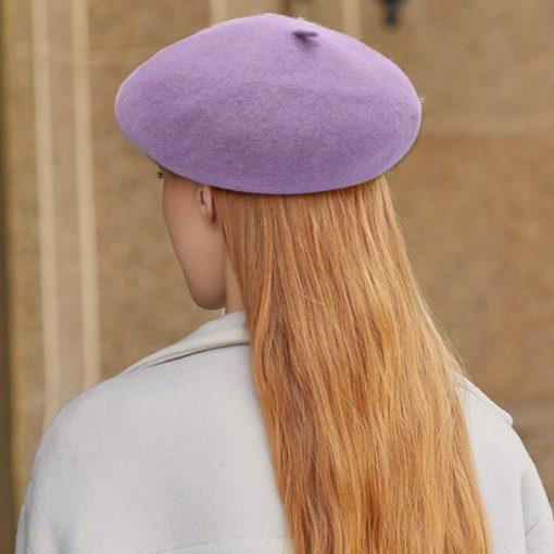 mũ nồi beret nữ casual inner màu tím hoa cà