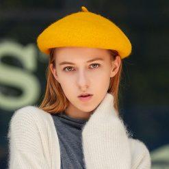 mũ nồi beret nữ casual inner màu vàng