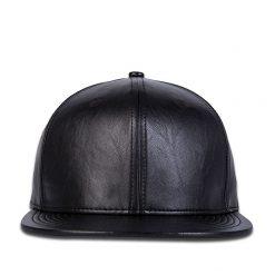mũ snapback Classic PU da đen