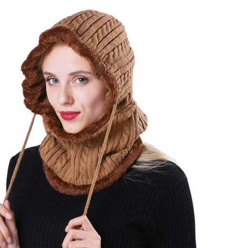 mũ len nữ hooded elastic màu nâu