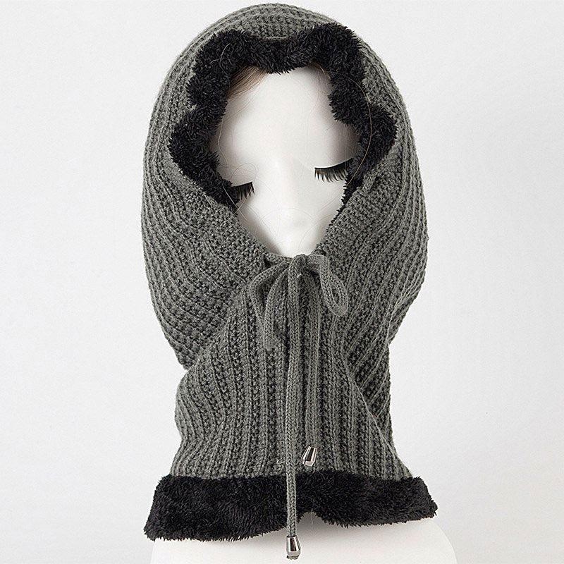 mũ len nữ hooded elastic màu xám