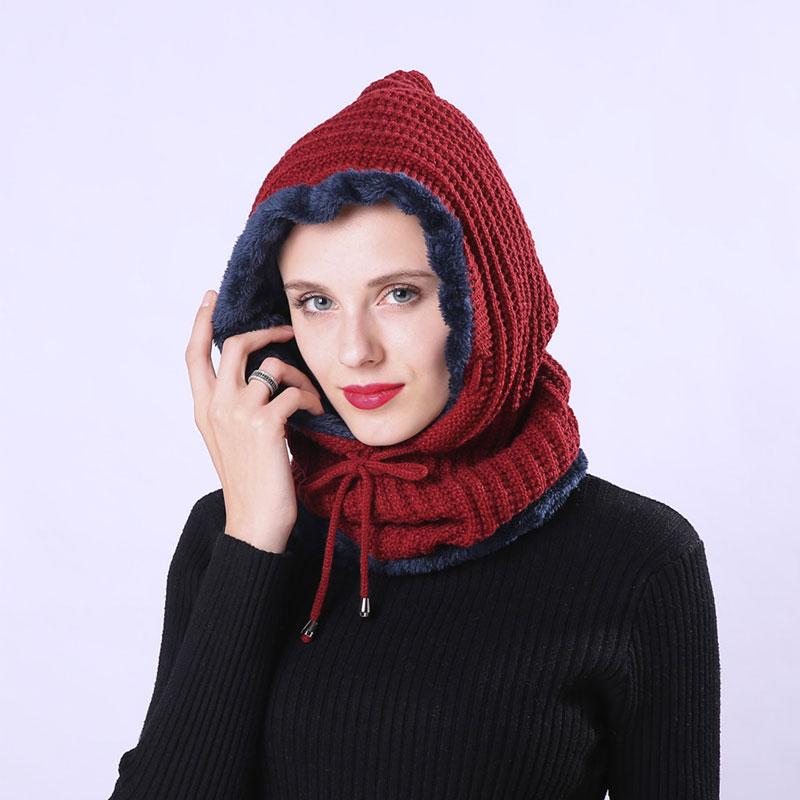 mũ len nữ hooded elastic màu đỏ booc đô