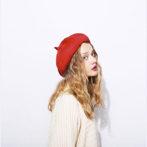 mũ nồi nữ sweat vintage màu đỏ