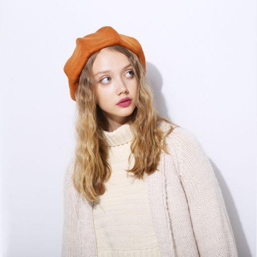 mũ nồi beret nữ sweat vintage màu vàng da bò