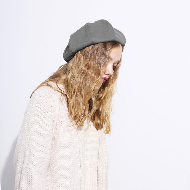 mũ nồi beret nữ sweat vintage màu xám