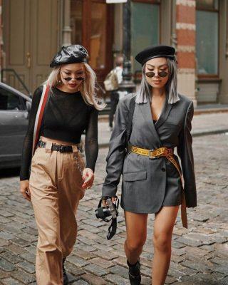 kiểu quần phong cách mix mũ beret