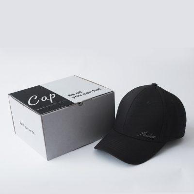 mũ và hộp mũ lưỡi trai đen bít đuôi anchor and helm