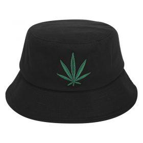 kiểu mũ bucket đen lá xanh