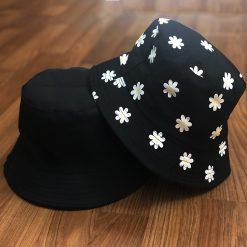 mũ bucket hoa đen