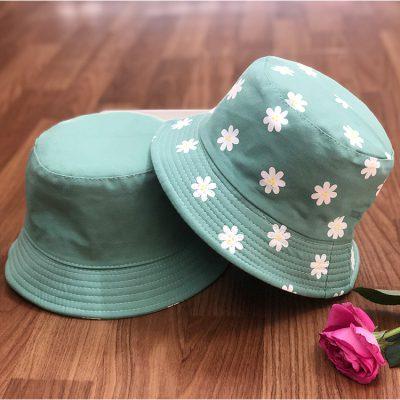 mũ bucket hoa xanh