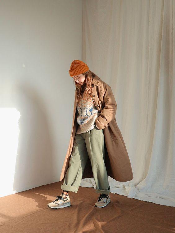 mũ len và áo khoác dài