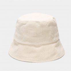mũ bucket nhung trắng
